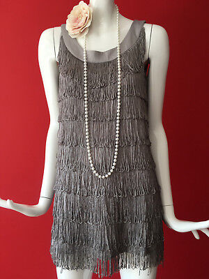 H&M Grey Flapper 1920s Gatsby Charleston Tassle Fringe Dress Size XS