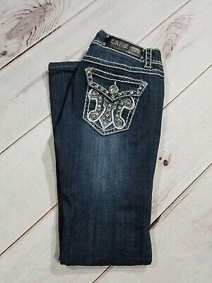 "LA Idol  Embellished Flap Boot Cut Jeans Womens Sz 3 Tag W 28 L 34"" Inseam 29""  segunda mano  Embacar hacia Mexico"