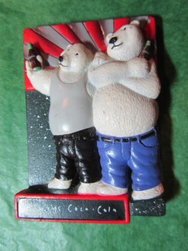VINTAGE 1997 ALWAYS COCA-COLA POLAR BEARS REFRIGERATOR MAGNET (#465)