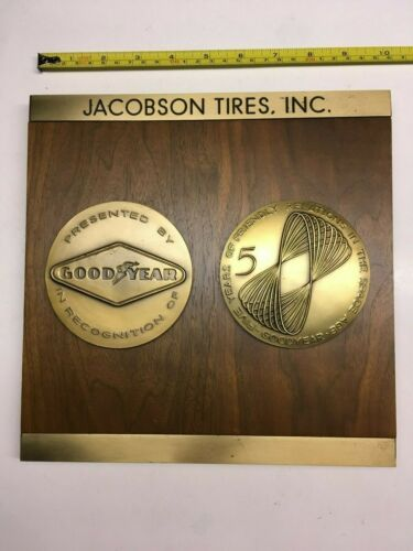 Vtg Goodyear Space Age Tire Wall Plaque Brass Wood 5 Years Jacobson Tires Auto