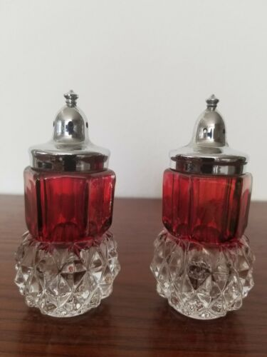 Vintage Ruby Flash to Clear Indiana Glass Salt and Pepper Shakers
