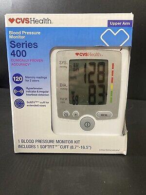 CVS Health Series 400 Blood Pressure Monitor Upper Arm Soft Fit Cuff HTN Alert