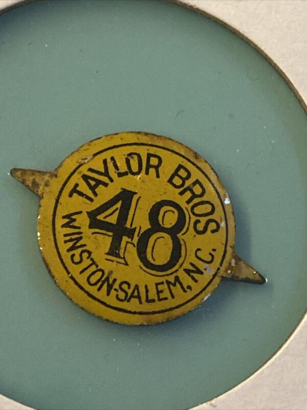 Vintage Tobacco Tag Tin Litho Taylor Bros 48 Winston N.C.