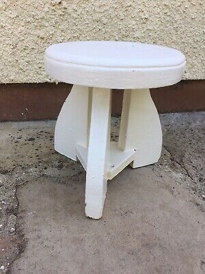Small Vintage Painted Rustic Wooden Round Stool 8