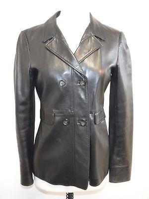 GIANNI VERSACE Black Leather double vested jacket womens sz Eu 36/ US 2