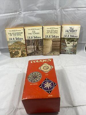 J.R.R. Tolkien Vtg 1973 Red Box Set Lord Of The Rings Hobbit Books Rare HTF