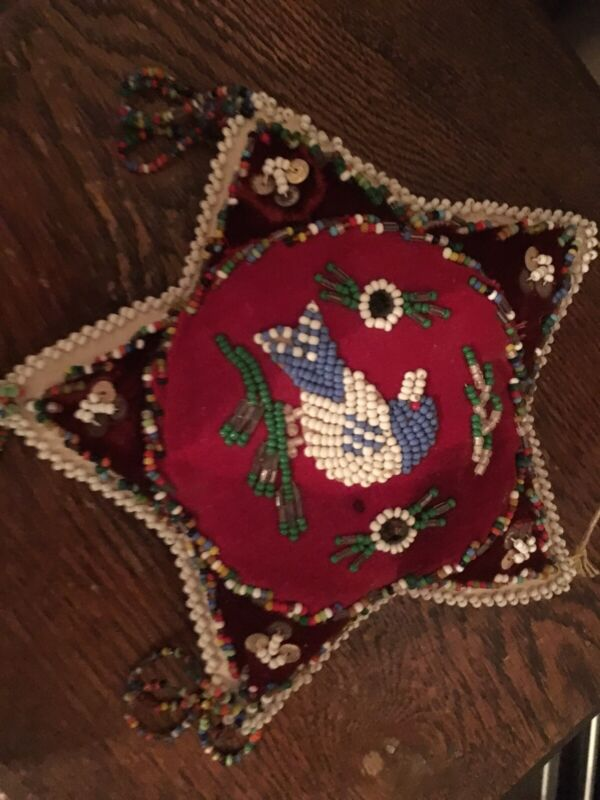 Large Antique Victorian Iroquois Mowhawk Hand Beaded Pin / Pillow Cushion