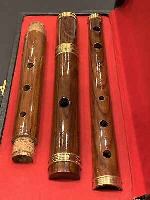 """IRISH WOODEN ROSE WOOD """"D"""" FLUTE WITH TUNING SLIDE AND Free CASE, 4 Part, 26"""""""
