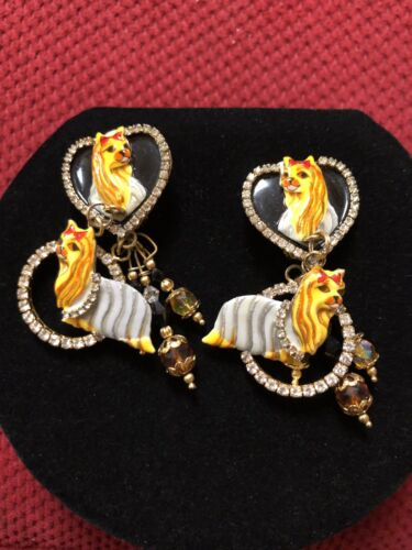 Lunch At The Ritz YORKIE LOOPS Clip Earrings RARE  - $155.00