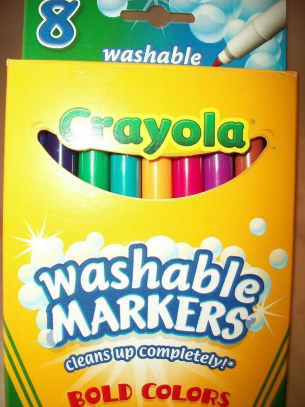 CRAYOLA WASHABLE MARKERS BOLD COLORS SKINNY (6) BOXES OF (8) MARKERS #58-7836