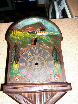 Antique Black forest painted and carved Large (35cm x 21cm ) cuckoo clock case