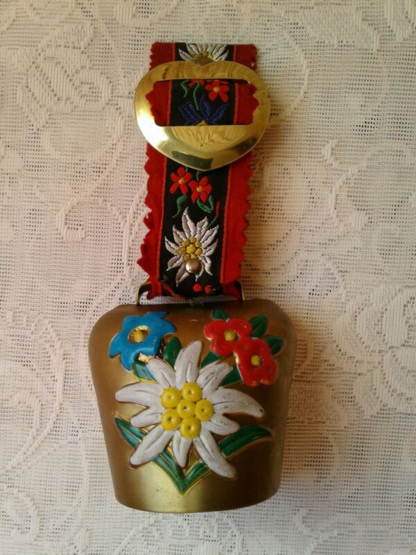 Vintage Swiss Cow Bell Brass Floral Design Collectable Heart Buckle Cow Goat