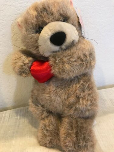 Vintage Gibson Greetings Stuffed Plush Valentines Day Sea Otter Red Heart 11""