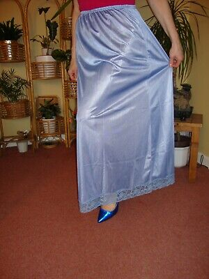 China Blue Silky Lace Trimme Long Formal Length Half Slip Petticoat M-L-XL  BNWT China Blue Lace