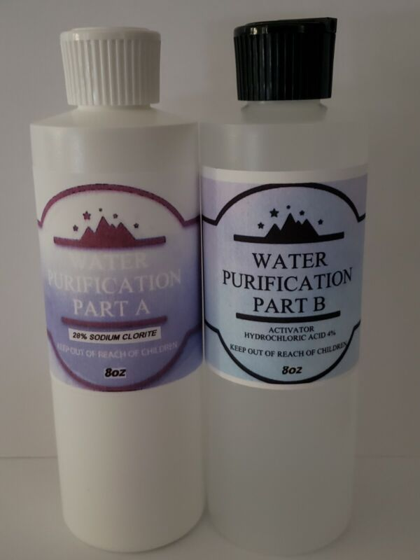 Water Purification - 8oz chlorite 28%(NaClO2) 8oz Hydrocloridic Acid 4%