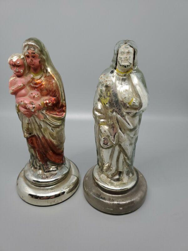 Antique Pair of 19th Century Mercury Glass Madonna & Wiseman Very Rare France