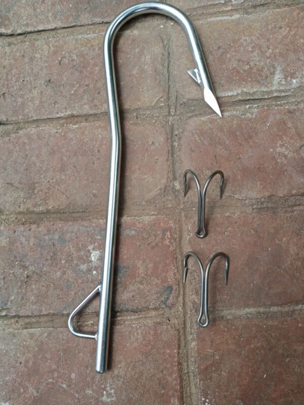 """Stainless Steel Flying Gaff 16 1/4"""" plus 2 - 3"""" Double Hooks"""