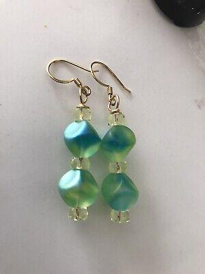 Vintage Czech Bright Green & Yellow uranium glass bead Earrings