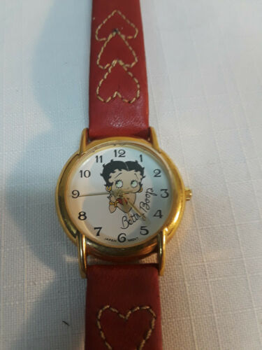 Betty Boop 1992 KFS Inc Watch Red Leather Band