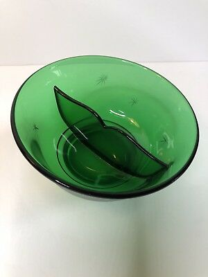 Vintage Emerald Green Depression Glass Divided Candy Nut Dish Atomic Starburst
