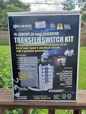 Reliance Transfer Switch Kit 31410crk 10 Circuit 30 Amp Power Generator Usa Nib