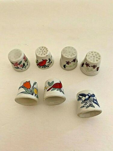 Lot of 7 Vintage Thimbles pictures of Birds & Flowers