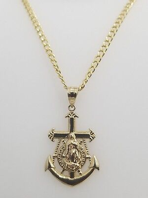 Real 10k Yellow Gold Virgin Mary Anchor Wheel Pendant Charm + 20