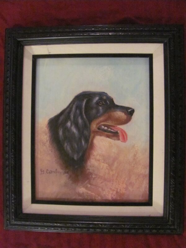 Original Oil Painting Black / Brown Dog Framed Signed G. Combs U.S.