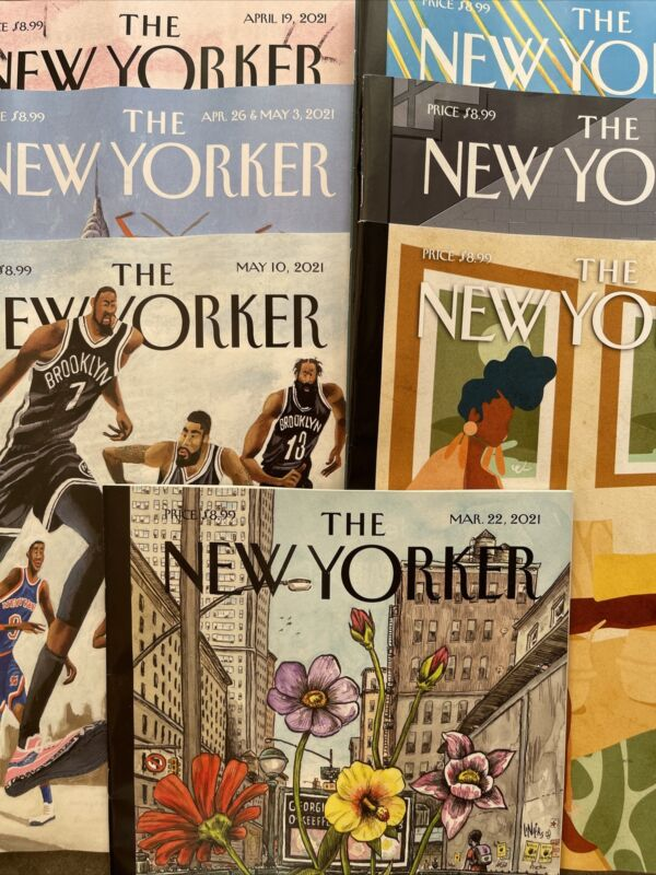 New Yorker Magazine Lot 2021. 12 Issue Lot, Mar. 22,29+ April 5,12,19,26, May 10