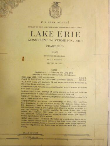 Army Corp Engineers Maritime Survey Chart Map 1953  Lake Erie Vermilion  39x30