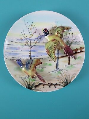 Lefton's Vintage Lefton Decorative 3-D Plate Japan Pheasants Birds Game Trees