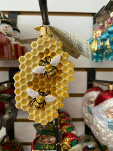 Merck Old World Christmas Glass Ornament Honeycomb  12586
