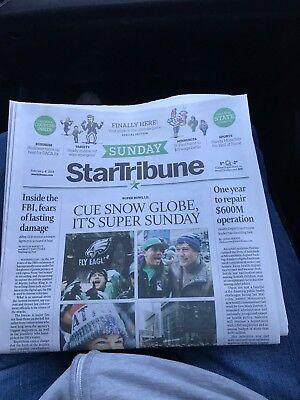 Minnesota Star Tribune Newspaper 2 4 18 Super Bowl 52 Eagles Vs Patriots