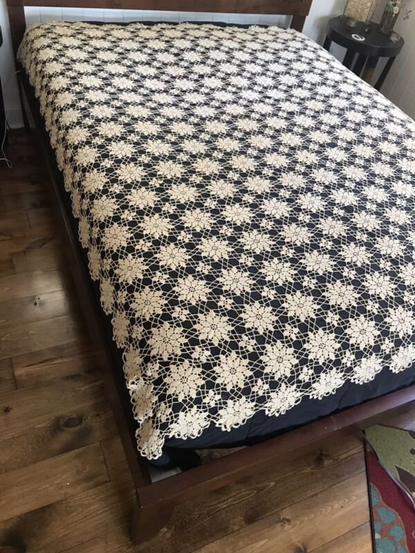 Antique Crochet Lacy Delicate Flower Motif Tablecloth - Handmade in 1920's