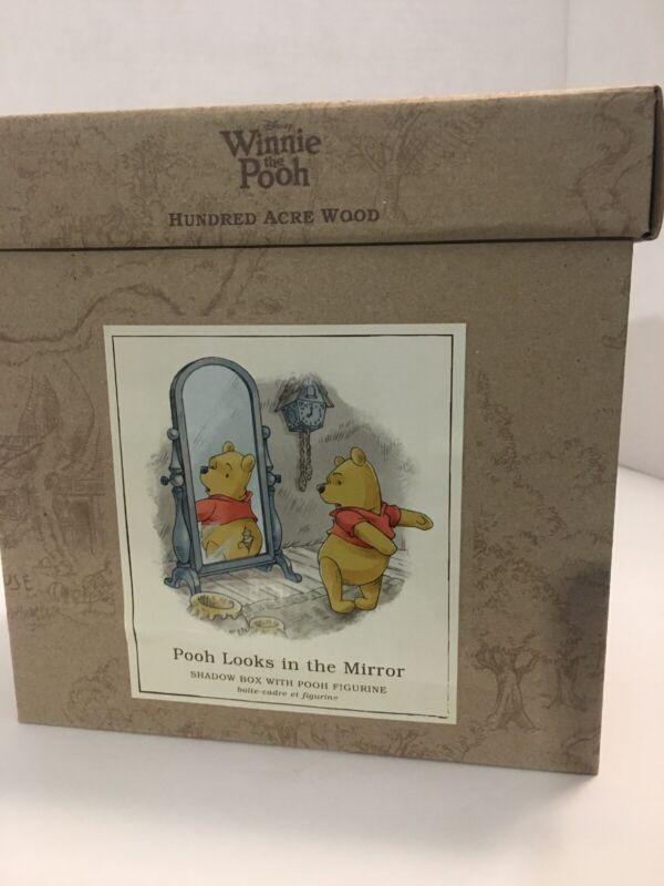 Hallmark Winnie The Pooh Hundred Arce Wood Shadow Box Pooh Looks In The Mirror
