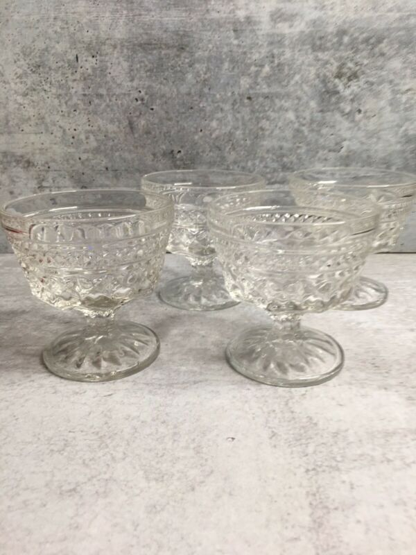 Set of 4 Vintage Anchor Hocking Wexford Clear Glass Dessert Cups Sherbet Dishes