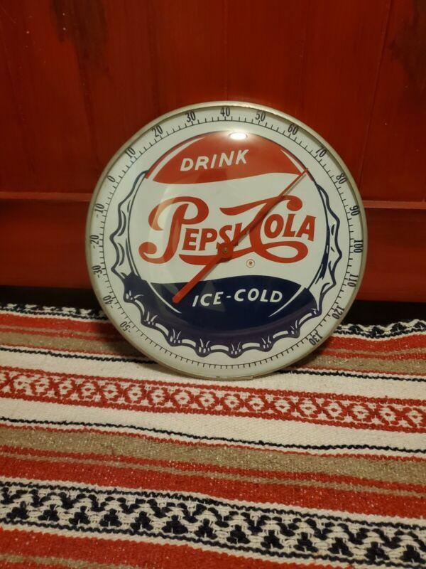 Old Original Round Pepsi Thermometer Advertising