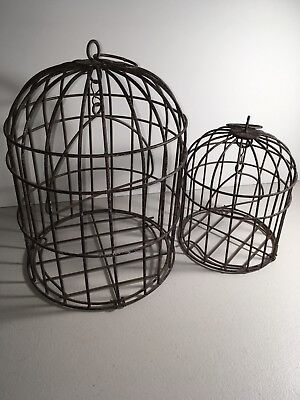 Rustic - Metal Wire Bird Cage Garden Decor. (Pair) - New.