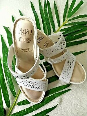 Impo White Textile Stretch Slide Sandals Wedge heels Beaded Straps Size 6