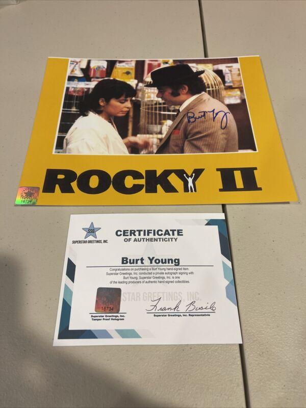 "Rocky Burt Young ""paulie"" Signed 8x10 Photo ""rocky Ii"" W/shire & Stallone Ssg"