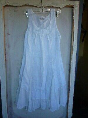 LINA TOMEI ITALY WHITE LINEN RIB SIDE PANEL A-LINE DRESS   WOMENS SZ. XS    -
