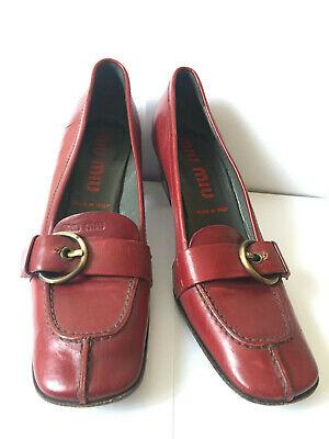 Vintage MIU MIU by Prada Red Logo Leather Loafers with Buckle EU  36.5  USA  6