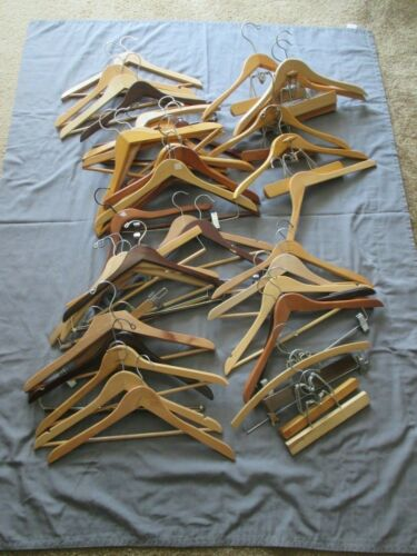 Lot of 42 Vintage Wooden Hangers Setwell Wishbone Pants Shirts