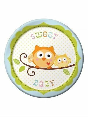 Happi Tree Owl Baby Shower Party Supplies-Boy Sweet baby Dessert plates-8ct.](Owl Party Plates)