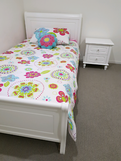 White King Single Bed & Mattress, with Bedside Table