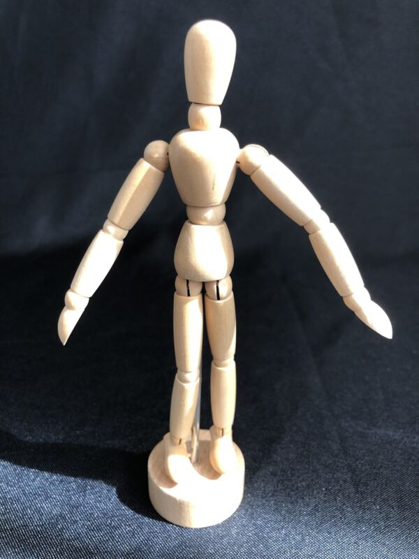 Articulated Wooden Drawing Mannequin Human Figure Fully Poseable on Stand 6.5""