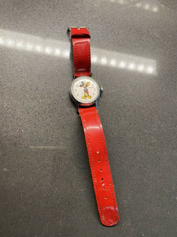 Vintage MICKEY MOUSE Ingersoll Watch Original Red Band US TIME Disney Not Tested
