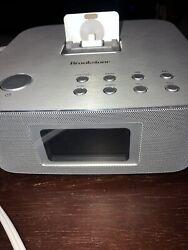 Brookstone bluetooth clock radio/ Alarm Clock/ iPhone -851551 W/ Remote