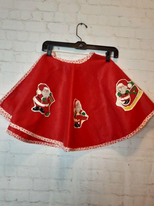 Vintage Handmade Santa Christmas Tree Skirt Red