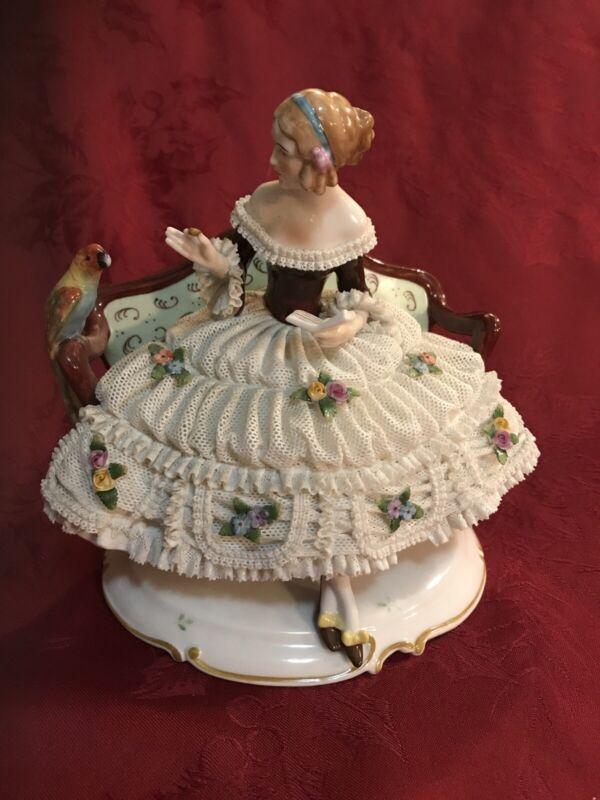 Heinz Schaubach Unterweissbach Dresden Lace Figurine Lady W/ Parrot